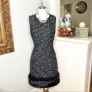 Calvin Klein Tweed Holiday Dress w Fur Trim